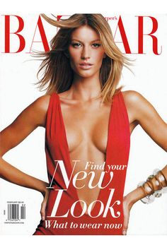 Gisele Bündchen by Patrick Demarchelier for Harper's Bazaar February 2002 Gisele Bundchen, Claudia Schiffer, Fashion Magazine Cover, Fashion Cover, Magazine Covers, Natalia Vodianova, Heidi Klum, Revista Bazaar, Vanity Fair