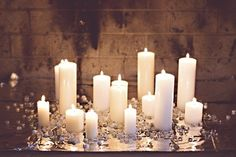 Candles in a fireplace