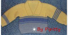 Esse casaquinho foi feito com lã Bambino, todo ele trabalhado em dois fios e agulha 5. FRENTE Montar 45 pontos e tricotar em sanfona 1x1 ...