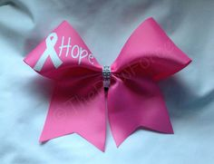 Pink White Glitter Bling Center Cheer Bow Breast Cancer Awareness Cheer Bow by TheBowForce on Etsy