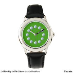 Golf Buddy Golf Ball Face Watch - $58.85 - Golf Buddy Golf Ball Face Watch - by #RGebbiePhoto @ #zazzle - #Golf #Game #Ball - 12 little white golf balls surrounding a watch face. Used to mark the hours. Golfing pro and amateur alike will love sporting this stylish design.