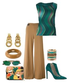 """Teal &a Brown Combo contest"" by freida-adams ❤ liked on Polyvore featuring STELLA McCARTNEY, Issey Miyake, Lizzie Fortunato Jewels, Christian Dior, Chloe Gosselin, Pamela Love, Dsquared2 and Chanel"