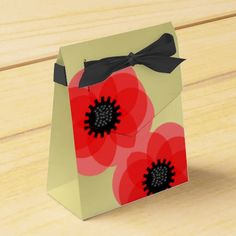 Red Black and Gold Floral Poppies Design Favor Boxes