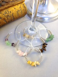 Set of 6 Crystal wine glass charms choice of by CrystallizedbyAJ