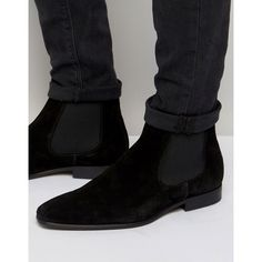 KG Kurt Geiger Francis Suede Chelsea Boots ($180) ❤ liked on Polyvore featuring men's fashion, men's shoes, men's boots, black, mens black chelsea boots, mens suede shoes, mens black boots, mens suede boots and mens black shoes