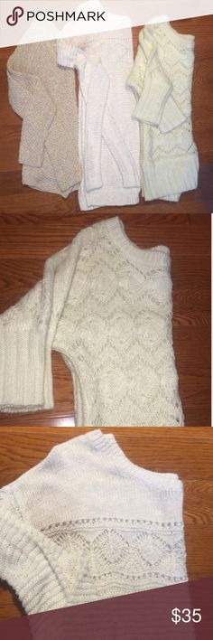 Your must have basics of beige sweaters❄️⛸ All sweaters are super cozy but all different! So you don't have to worry about that it is the same sweater in different colors. Questions and offers welcome. I may also be able to split the bundle if you would like just one or two sweaters out of the bundle. XOXO American Eagle Outfitters Sweaters