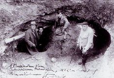History of Art: Paintings that Changed the World. The entrance to the Lascaux Caves, 1940. Two of the boys who discovered the caves are pictured in the middle.