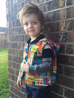 Boys Hooded Vest Boys Car Vest Toddler Boy Car by EllaLeneDesigns