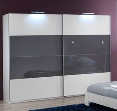 SlumberHaus German Eleganz White & Grey Glass Sliding Door Wardrobe in Home Furniture & DIY Furniture Wardrobes Interior Closet Doors, Bedroom Closet Doors, Wardrobe Design Bedroom, Wardrobe Sale, Diy Wardrobe, White Wardrobe, Modern Wardrobe, Wardrobe Ideas, Sliding Door Wardrobe Designs