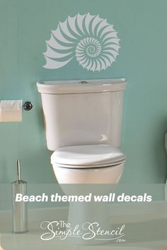 Large collection of beautifully designed vinyl wall decals to decorate the walls or windows of your beach house, beach inspired or nautical designed rooms. High Quality, Made in the USA, since 2002… More Beach Wall Decals, Bathroom Wall Decals, Vinyl Decor, Vinyl Wall Decals, Wall Decor, Beach Bathrooms, Beach House Decor, Room Themes, Walls