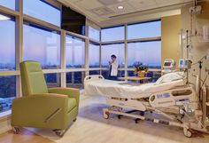 PHOTO TOUR: Prebys Cardiovascular Institute | Healthcare Design --- Special-use rooms located on the building corners of Prebys Cardiovascular Institute offer expanded vistas over the Scripps Memorial Hospital campus, in La Jolla, Calif., through full-height windows. Adjoining rooms connect to create a suite of spaces for family visits. Photo: Stephen Whalen/Courtesy of HOK