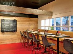 Restaurants- i like the clean simple lines and wood texture on walls, with chalkboard adn red floor.