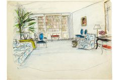 Sketch of drawing room. Colored pencil on tracing paper.