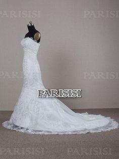 Trompeta sirena Sin tirantes Tren Capilla Encaje Blanco vestidos de novia