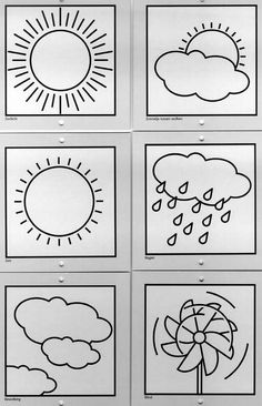 weerkaartje Spanish Classroom Activities, Fall Preschool Activities, Preschool Colors, Weather Activities, Weather Worksheets, Drawing For Kids, Art For Kids, Weather For Kids, Preschool Charts