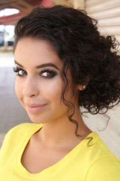 Love her dramatic eyes and how they go with her hair Curly Hair Styles, Curly Hair Updo, Curly Wedding Hair, Short Curly Hair, Wavy Hair, Hair Dos, Natural Hair Styles, Curly Bun Hairstyles, Wedding Hair And Makeup