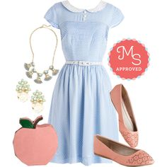 Confectioner's Dream Dress in Sky by modcloth on Polyvore featuring Bea & Dot and vintage