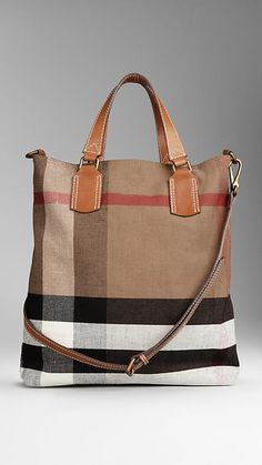 MEDIUM CANVAS CHECK TOTE BAG | Naughty Gal Shoes