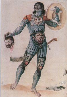 """imaginary """"pictish man"""", dated between 1585 and 1593, by john white"""