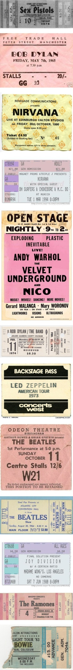"""The most amazing collection of tickets ever, however I'm not fussed about the sex pistols or bob dylan really BUT NIRVANA AND LED ZEPPELINN""""!!!!! <3"""