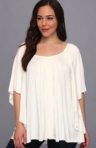 Rachel Pally Plus Size White Top with Figure Flattering Pleating and Subtle High Low Hem