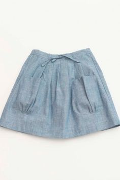 Chambray Bartley Spring Skirt in blue