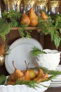 2 simple & easy looks~ styling a cupboard for Christmas - French Country Cottage French Country Christmas, Cottage Christmas, Christmas Kitchen, Cozy Christmas, Rustic Christmas, Simple Christmas, Christmas Ideas, Family Christmas, Christmas Christmas