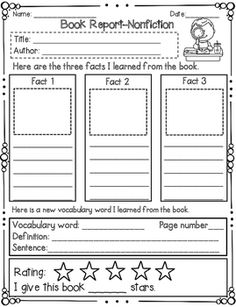 Nonfiction book report for first grade