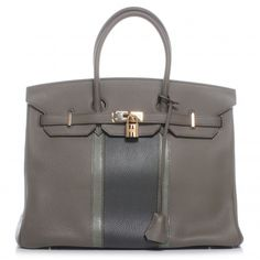 Who doesn't need this?  HERMES Taurillon Clemence and Lizard Club Birkin 35 Etain.