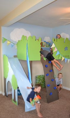 Give your kids an indoor play area away from the heat or the cold outdoors by building an indoor tree house play loft! Indoor Tree House, Indoor Trees, Kids Castle, Toy Rooms, Indoor Playground, Baby Kind, Kid Spaces, Decorating On A Budget, Diy Hacks