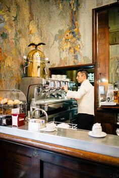 The Taste SF recommends getting a coffee in the morning at Camparino in Galleria in Milan - the original campari cocktail bar - while waiting for to the duomo to open and skip the lines. #milan #travel #campari #italy