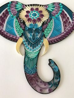 Elephant head quilling//Handmade Paper art//Paper quilled
