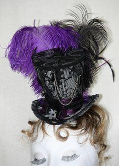 Tiny Hat ~The Burlesque Queen ~ mini top hat burlesque victorian purple black