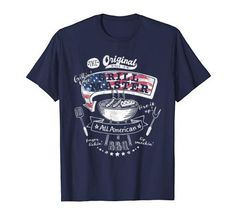 Original All American Grill master BBQ lover T-Shirt Grill Master, Branded T Shirts, Fashion Brands, Grilling, Bbq, The Originals, Amazon, American, Tees