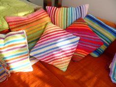 Gorgeous!!! So colourful! crochet square pillows
