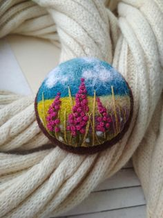 Sage jewelry. Romantic brooch will be a wonderful gift for a girlfriend or wife. Needle felted brooch with a landscape decorated with embroidery. Felt brooch 100% natural and eco friendly. Brooch is fitted with a metal brooch pin. 5.5 cm in diameter Brooch packed in gift box Please