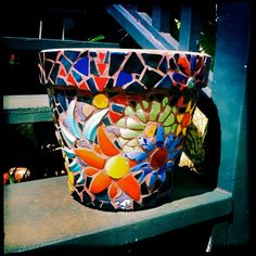 Colorful Mosaic Flower Pot Custom Orders Only at this by Wingbones