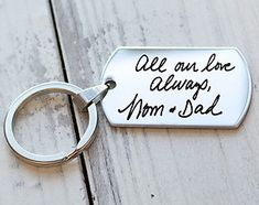 Your Actual Handwriting - Personalized Custom Engraved Dog Tag Key Chain