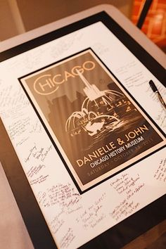 """Have your save the date or invitation framed and have your guests sign the mat for an extra special """"guest book""""! Wedding Signs, Our Wedding, Ballroom Wedding, Chicago Wedding, Wedding Guest Book, Real Weddings, Wedding Planning, Wedding Decorations, Wedding Invitations"""