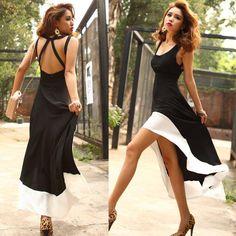 Summer Fashion Women's Sexy Scoop Neck Backless Asymmetric Dress Sundress Casual