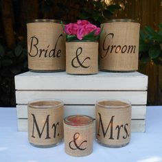 Burlap hurricane candle holder or vase set for by LowCountryHome