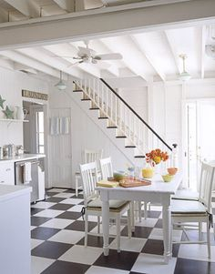 """A Pottery Barn table is at the heart of the kitchen. """"Those turquoise pendant lights are from Schoolhouse Electric—they're the perfect color and they're only about $150 each! Colorful and affordable—that's the spirit of the entire house,"""" says Bell."""