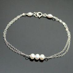Freshwater PEARL Bracelet  STERLING SILVER Double by AlexisKJewels, $19.99