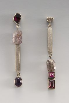 #EARRINGS - 18KT PALLADUIM WHITE GOLD, RHODALITE GARNET, GARNET, RUBY, AMETHYST, MOSS AMETHYST BEAD, FANCY DIAMOND