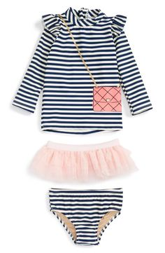 Main Image - Shade Critters Play Dress Up Two-Piece Rashguard Swimsuit & Tulle Skirt Set (Baby Girls)