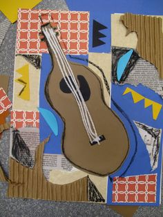 Picasso inspired music collage. Mixed media. Art and music.