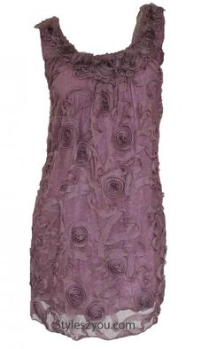 Pretty Angel Clothing Women's Vintage Rosette Tunic In Mauve at Styles2you.com
