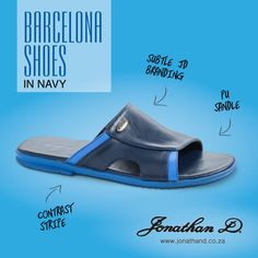 Kick your shoes off. Spring's here and so is Jonathan D's Barcelona Sandal. Made from a comfortable PU material, these classic, slip-on sandals have a stylish contrast stripe and subtle Jonathan D branding. Available in three classy colourways. Your Shoes, Summer 2014, Contrast, Barcelona, Kicks, Branding, Classy, Street Style, Sandals