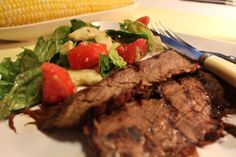 Grilled Flank Steak and Salad, big flavor, great color and easy preparation.