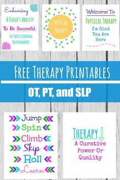 Therapy Room Printables Free Therapy Printables - Perfect for any OT, PT, or SLP room, clinic or desk! Speech Therapy Posters, Physical Therapy Quotes, Pediatric Occupational Therapy, Speech Therapy Activities, Speech Language Pathology, Speech And Language, Ot Therapy, Free Therapy, Therapy Ideas